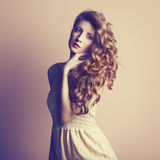 Photo of  beautiful young woman. Vintage style Royalty Free Stock Photo