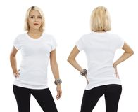 Sexy blond woman with blank white shirt Royalty Free Stock Photos