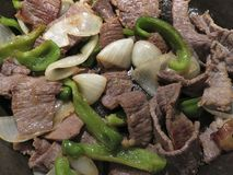 Beef Cecina in the Frying Pan royalty free stock image