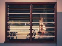 Photo of the big ship through the window sash. Photo of the ship through the window sash Royalty Free Stock Photography