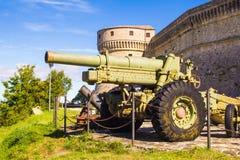 Photo of big tank at San Leo fortress Stock Image