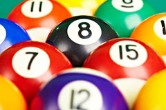 Photo billiard balls close up.  Stock Images