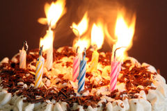 Photo of a Birthday Cakein in dark light Stock Image