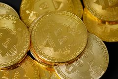 Photo Bitcoins d'or images libres de droits