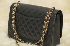 Photo of black handbag on the table.  royalty free stock photos