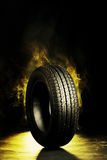 Photo of black smoked burning tire Royalty Free Stock Images
