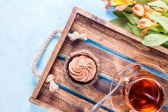 Photo of black tea, cake with cream Royalty Free Stock Photo