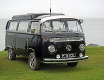 Vintage volkswagen touring club. Photo of a black volkswagen on display at whitstable outdoor rally by tankerton slopes in kent april 15th 2018 Stock Photos