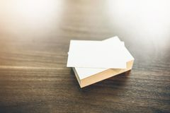 Photo of blank business cards. Mock-up for branding stock image