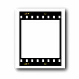 Photo with blank film strip frame. On white background Royalty Free Stock Photography