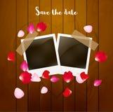 Photo blank frame template card. Romantic valentine love celebration illustration. Rose petals design card.  stock illustration