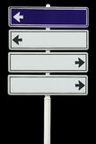 Photo of blank sign board, isolated. Photo, perfectly isolated on black, arrows can be modified easily Stock Photography