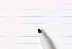 Photo of blank squared graph paper with a yellow pencil Stock Photos