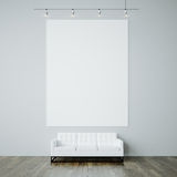 Photo of blank white canvas on the gray wall Royalty Free Stock Image