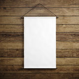 Photo of blank white vintage canvas hanging on the wood background. Vertical mockup. 3d render Stock Images