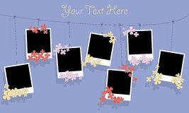 Photo blanks and flowers on a rope Stock Image