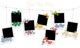 Photo blanks and flowers on a rope Stock Photo