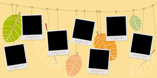 Photo blanks on a rope on autumn Stock Photo
