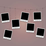 Photo blanks on a rope Royalty Free Stock Photo