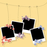 Photo blanks on a rope with flower Stock Image