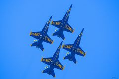 Blue Angles flying overhead stock image