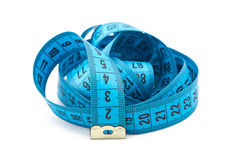 Photo blue folded measuring tape, cm Royalty Free Stock Image