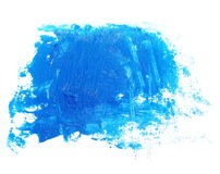 Photo blue grunge brush strokes oil paint isolated on white Stock Photos
