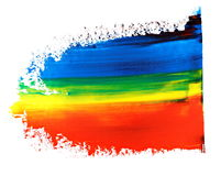 Photo blue red and yellow grunge brush strokes oil paint isolated on white. Background Royalty Free Stock Images
