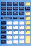 Photo of blue, white, and yellow calculator keys Stock Photo
