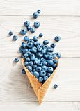 Photo of blueberry in waffle cone on white wooden table. Stock Image