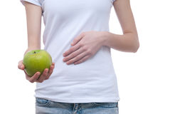 Photo of body of girl with apple Royalty Free Stock Photos