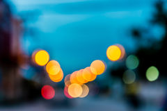 Photo of bokeh lights on blue background Royalty Free Stock Images
