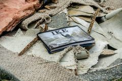 Hurricane Harvey Aftermath. Photo book of Hurricane Ike in trash outside of a Houston home devastated after Hurricane Harvey royalty free stock images