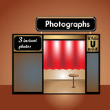 Photo booth. Abstract colorful illustration with a photo booth with chair and red curtains Stock Photography