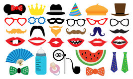 Photo booth accessory collection. Props retro party set Stock Images