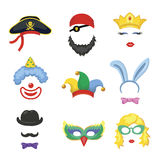 Photo booth Birthday and Party Set - glasses, hats, crown, Stock Image