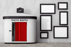 Photo Booth in front of Brick Wall with Blank Picture Frames. 3d Royalty Free Stock Photo