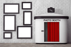 Photo Booth in front of Brick Wall with Blank Picture Frames. 3d Stock Image