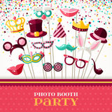 Photo Booth Party with Carnival Masks and Confetti. Photo Booth Party Invitation Concept. Border with Carnival Masks and Falling Confetti on White Background Stock Photos