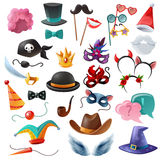 Photo Booth Party Icons Set Stock Photography