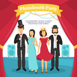 Photo Booth Party Illustration. Photo booth party with people stage music and curtains flat vector illustration Royalty Free Stock Photography