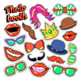 Photo Booth Party Set with Glasses, Mustache, Hats and Lips for Stickers and Props. Vector Doodle Royalty Free Stock Images