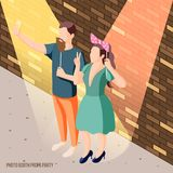 Photo Booth Props Background. Photo booth party celebration isometric brick wall background poster with couple holding props in spotlights vector illustration vector illustration
