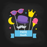Photo Booth Props on Chalkboard Background. Vector Design Royalty Free Stock Image