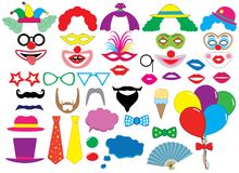 Photo booth props. Clowns. Holiday set. Vector.  Stock Image