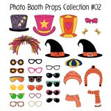 Photo booth props collection. Set of hand drawn cartoon photo booth props with funky, witch, knitted hats, mufflers, ribbons, different glasses. Isolated objects Stock Photo