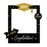 Photo booth props frame for graduation party. Graduation party photo booth props. Frame with cap for grads. Concept for selfie. Photobooth vector element stock illustration