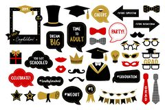 Photo booth props for graduation party photobooth. Photo booth props for graduation party. Hat, cap, tie, glasses, diploma for those who graduate from school or vector illustration