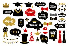 Photo booth props for graduation party photobooth. Graduation party photo booth props. Photobooth vector set: hat, cap, diploma, mustache, kiss, glasses royalty free illustration