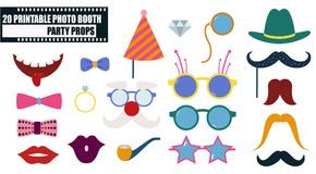 Photo booth props icon set vector illustration. Colorful photo booth props icon set vector illustration. Collection of design elements such as lips, hat Stock Photography